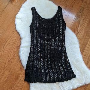 BCBG Max Azria black crochet dress covers up
